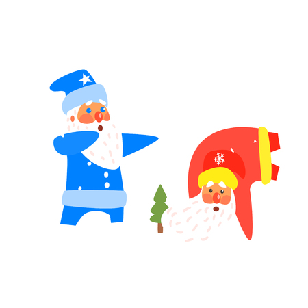 Two Dancing Santas. Christmas Vector Illustration in Flat Style