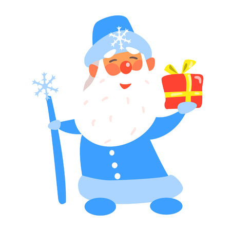 Father Frost with a Present, Flat Vector Illustration