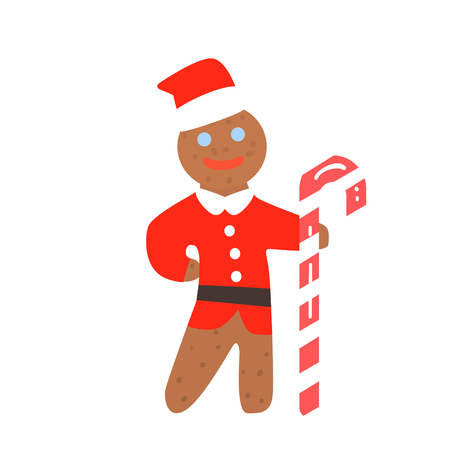 Gingerbread Man Christmas in Santa Hat, Vector Illustration