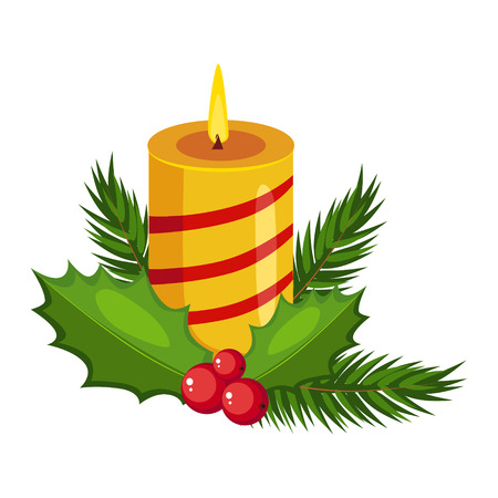 Christmas candle with fir sprigs and Holly greeting card with text vector