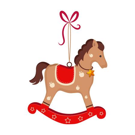 Biglietto di auguri di Natale con cavallo a dondolo giocattolo con testo vettoriale text