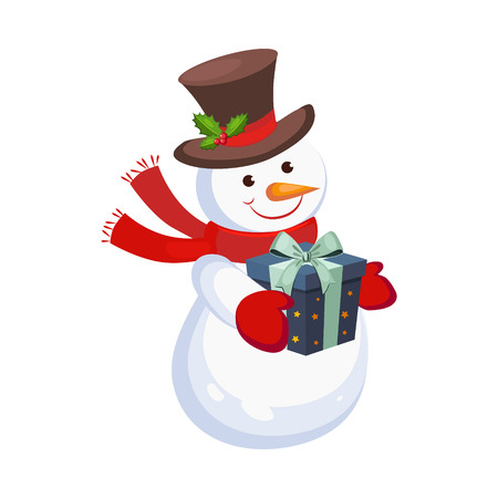 Cheerful Snowman holding a Present. Holiday Vector 矢量图像
