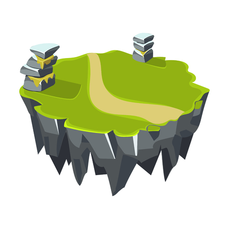 Cartoon Stone Grassy Isometric Island for Game, Vector Element