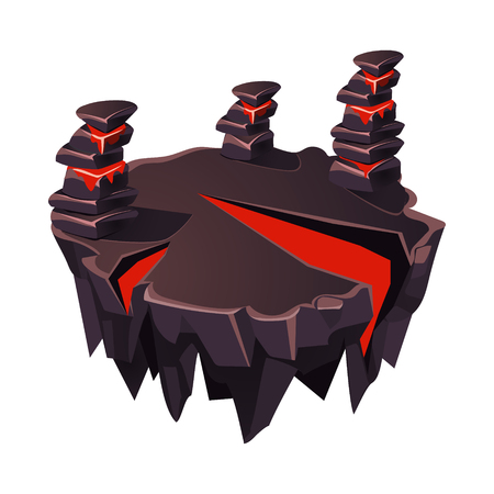Cartoon Stone Isometric Island with Volcano for Game, Vector Element