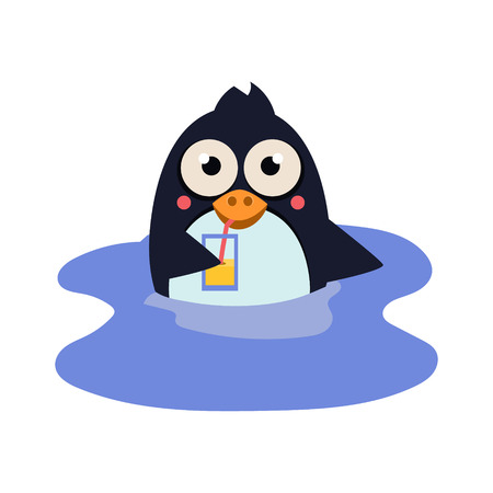 Cute Funny Swimming Penguin with a Coctail. Vector Illustration Stock Illustratie