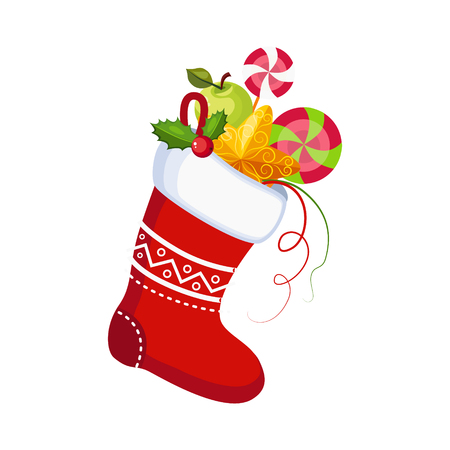 Christmas Socks with Presents. Winter Vector Illustration Illustration