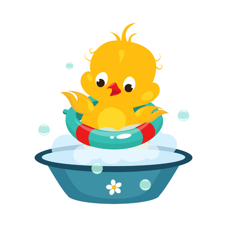 Cute Duckling in Bathroom. Colourful Vector Illustration