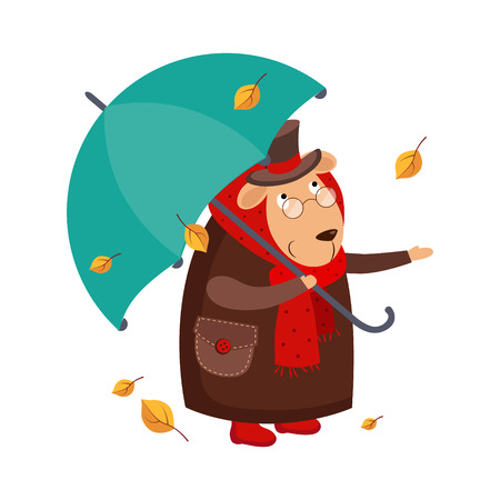 Sheep Gentlemen in a Coat with an Umbrella in Autumn. Cute Vector Illustration