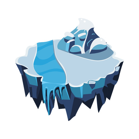 Cartoon Isometric Icy Island for Game, Vector Element