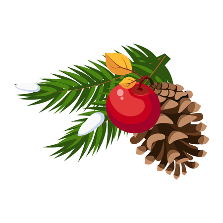 Christmas tree decoration pinecone greeting card with text vector