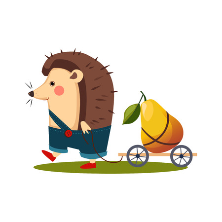 Hedgehog Carrying a Pear in a Barrow. Cute Vector Illustration