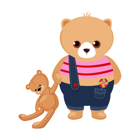Little Bear Cub holding a Teddy Toy. Cute Vector Illustration