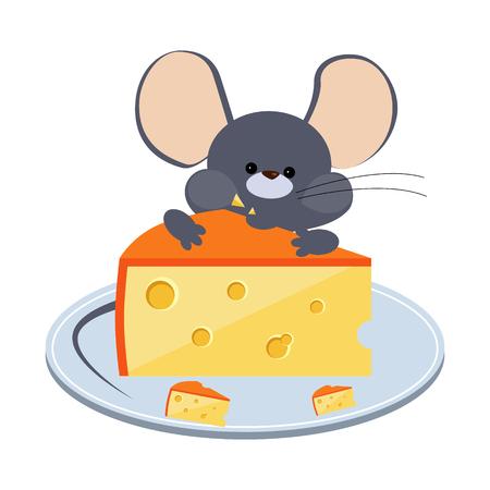 Ratoncito gris masticando queso en un plato. Ilustración vectorial brillante