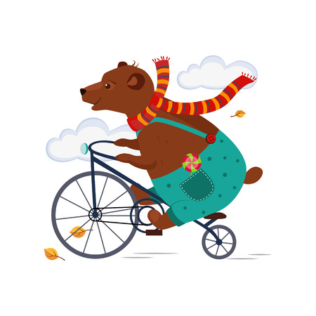 Bear Riding a Bicycle in Scarf iAutumn. Vector Illustration