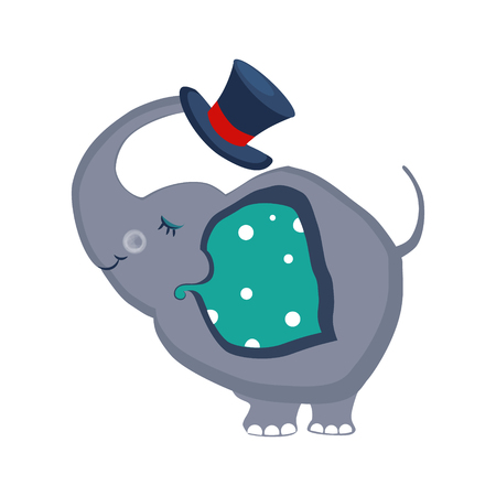 Elephant Holding a Hat with the Trunk. Cute Vector Illustartion Illustration