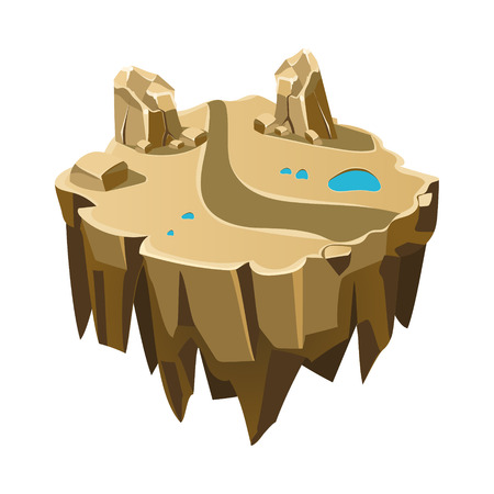Cartoon Stone Isometric Island for Game, Vector Element