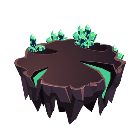 Cartoon Stone Isometric Island with Crystals for Game, Vector Element
