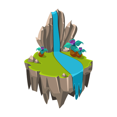 Cartoon Stone Isometric Island with Waterfall and Cliff for Game, Vector Element