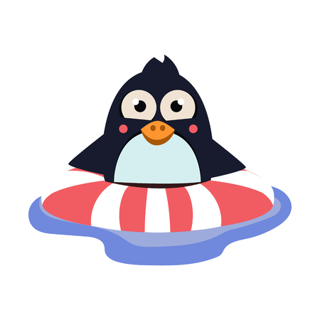Cute Swimming Penguin with Lifebuoy. Vector Illustration