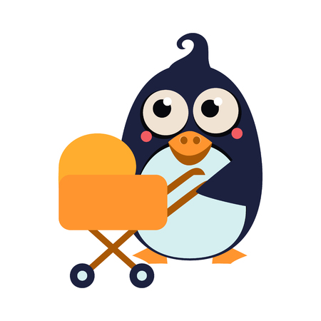 Cute Penguin Mom and Baby in Stroller. Vector Illustration