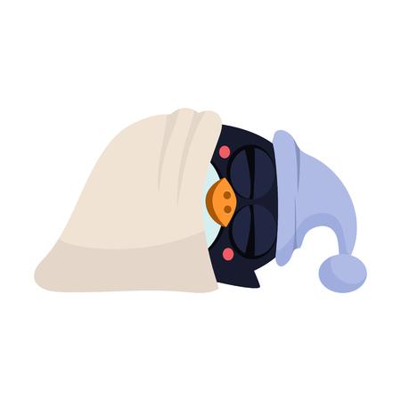 Cute Cartoon Sleeping Penguin in a Hood. Vector Illustration
