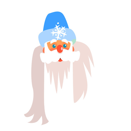 Father Frost Christmas Portrait, Flat Vector Illustration Иллюстрация