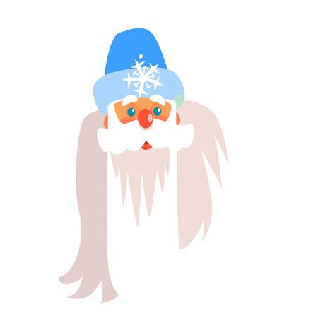 Father Frost Christmas Portrait, Flat Vector Illustration Illustration