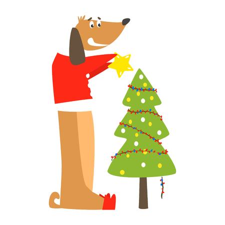 Perro gracioso y árbol de Navidad. Ilustración vectorial plana