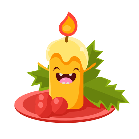 Candle Vector Cheerful Christmas card. Merry Christmas and Happy New Year