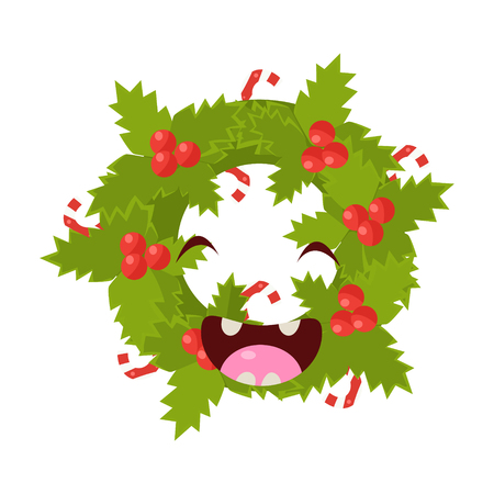 Wreath Vector Cheerful Christmas card. Merry Christmas and Happy New Year