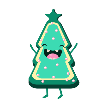 Cookie Christmas tree Vector Cheerful Christmas card. Merry Christmas and Happy New Year