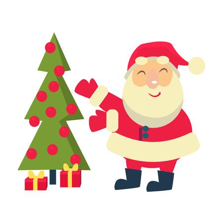 Merry christmas Vector Illustration of Santa Claus Иллюстрация