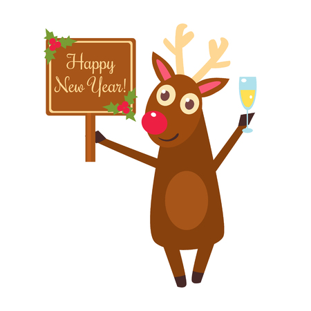 Christmas deer characters and decorations vector illustration