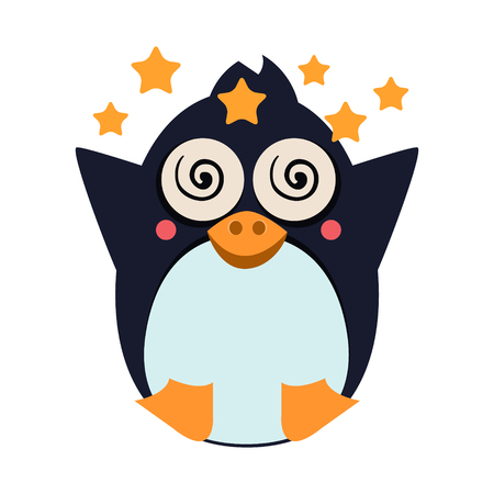 Cute Penguin Feeling Dizzy. Flat Vector Illustration