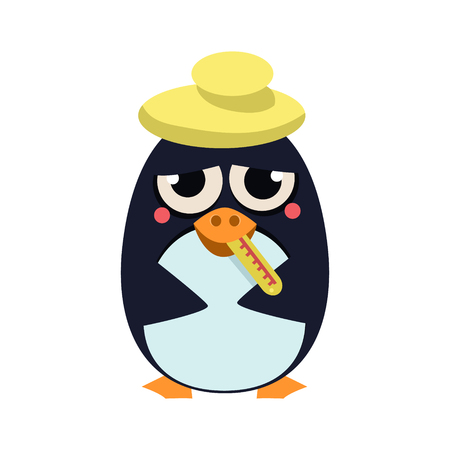 Cute Sick Penguin with Thermometer. Vector Illustration