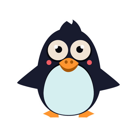 Cute Penguin Standing on Ice. Vector Illustartion