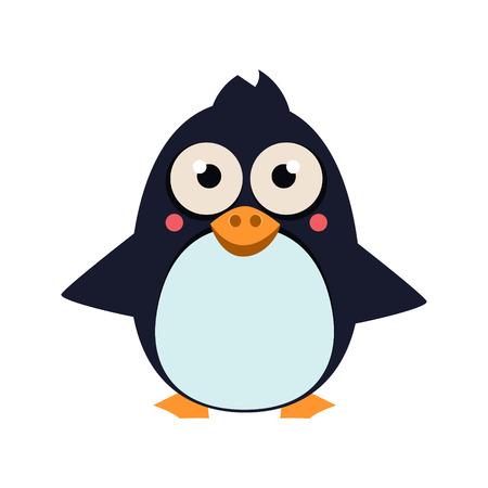 Cute Penguin Standing on Ice. Vector Illustartion