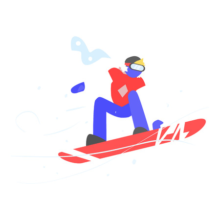 Man Snowboarding. Winter Vector Illustration in Flat Style
