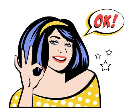 Dame mit Sprechblase OK und startet im Pop-Art-Stil. Vektor-Illustration