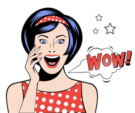 Femme dans un style Pop Art avec signe WOW. illustration vectorielle
