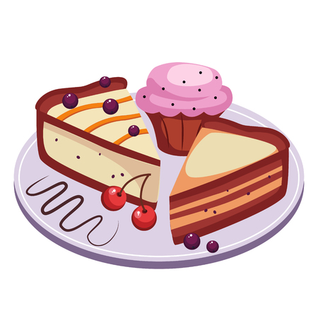 Pie and Cupcake with Cherries Vector Illustration Set Illustration