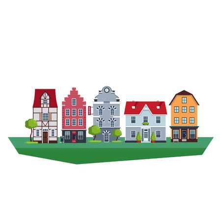 Set of old traditional architecture mideval houses. Vector Illustration