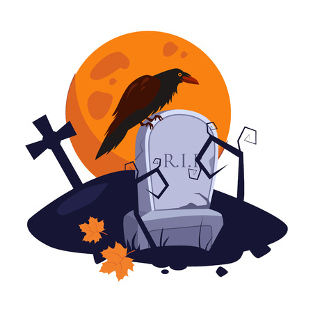 Halloween picture with a raven sitting on a gravestone vector illustration