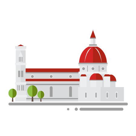 Cattedrale italiana in illustrazione vettoriale design piatto