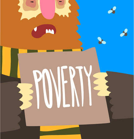 Poverty, social problem, help to homeless people poster banner template vector Illustration, web design
