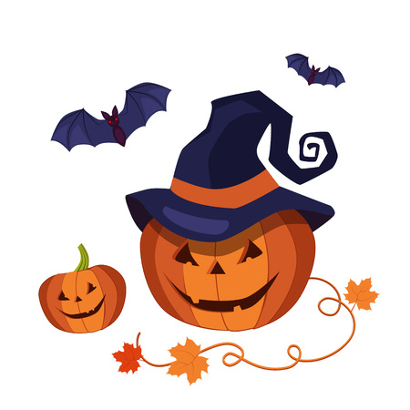 An illustration of a cute cartoon carved Halloween pumpkin with happy smile and pointed witch hat and bats