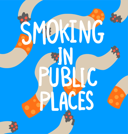 Smoking in public places, cigarette addiction, struggle with unhealthy addiction social proplem concept poster banner template vector Illustration, web design Иллюстрация
