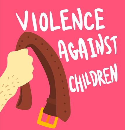 Violence against children poster banner template vector Illustration, web design