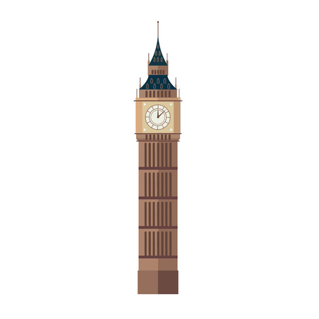 Vector illustration of Big Ben in flat style