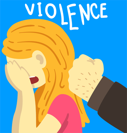 Violence, man beating crying woman, stop violence against women poster banner template vector Illustration, web design